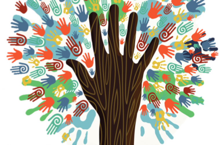 Image with tree with trunk as a hand, leaves are multi-colored hands