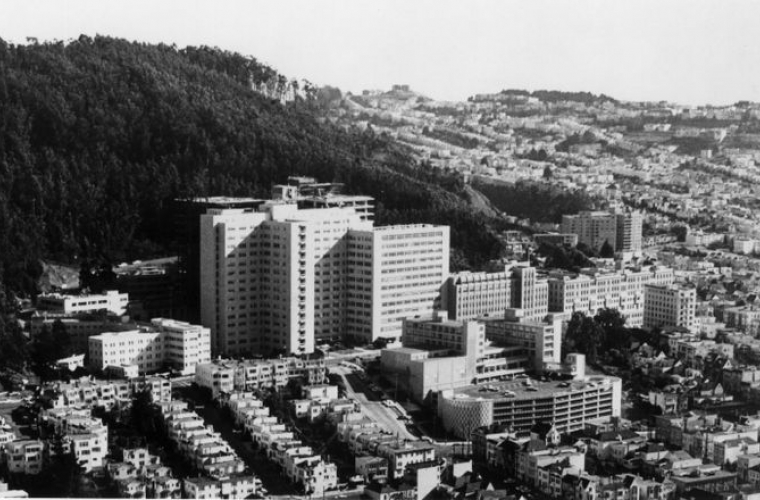 Aerial view of UCSF parnassus campus in 1980.