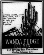 """black and white image with a cactus """"Wanda Fudge for Men"""" """"Cowboy shirt, jeans, hats, etc.--and someone to help you put it all together"""""""