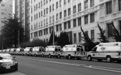 Image of a Parnassus lined with 12 waiting ambulances