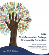flyer for 2014 recepetion. tree trunk is a hand with many small handles as the leaves