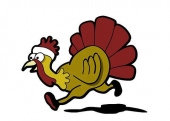 Cartoon drawing of a turkey.